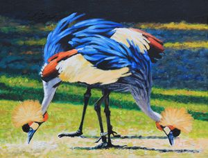 Golden Crown Cranes - Paintings by John Lautermilch