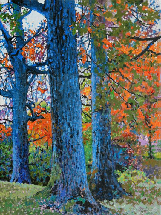 Three Oak Trees - Paintings by John Lautermilch