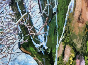 Decorative Pear Trees in Winter - Paintings by John Lautermilch
