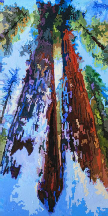 Snow On The Redwoods - Paintings by John Lautermilch