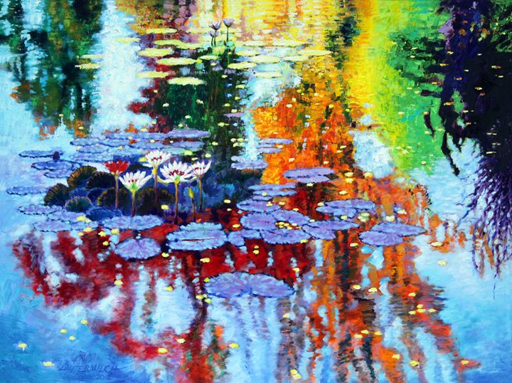 Golden Leaves on Fall Pond - Paintings by John Lautermilch
