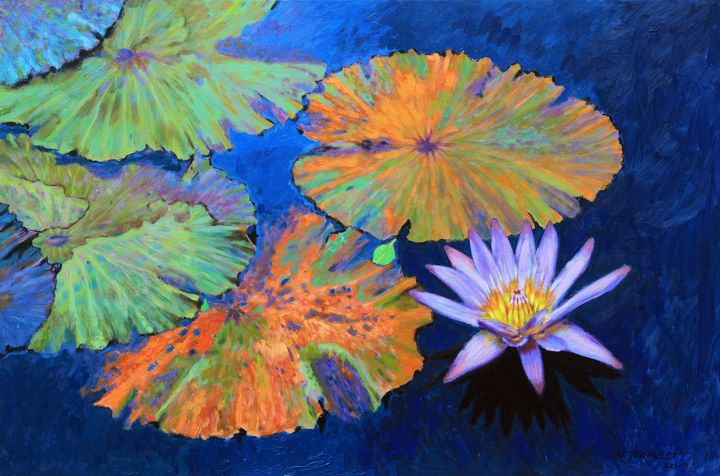 Autumn Colors on the Pond - Paintings by John Lautermilch
