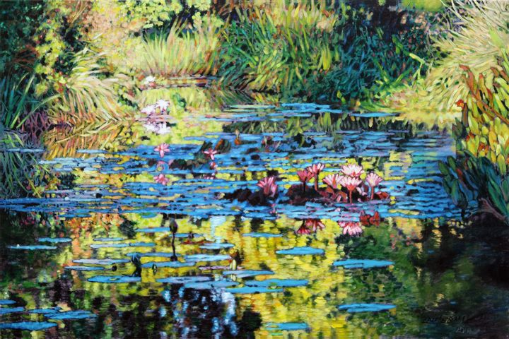 Lily Pond Sunspots - Paintings by John Lautermilch