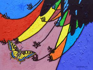 Butterfly On Stain Glass - Paintings by John Lautermilch