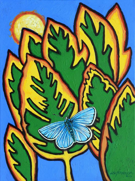 Stain Glass Leaves - Paintings by John Lautermilch