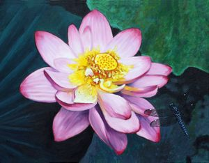 Lotus With Dragonfly - Paintings by John Lautermilch