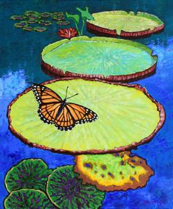 Lily Pads and Butterfly - Paintings by John Lautermilch
