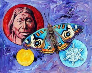 Red Man and Moth - Paintings by John Lautermilch