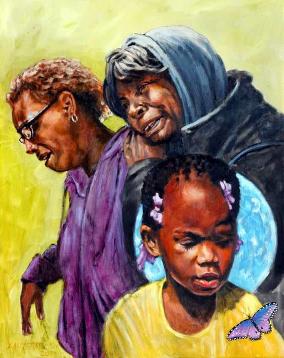 Kennedi Powell and Grandmother - Paintings by John Lautermilch