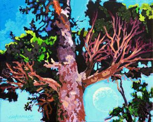 Pine Tree with Daylight Moon - Paintings by John Lautermilch