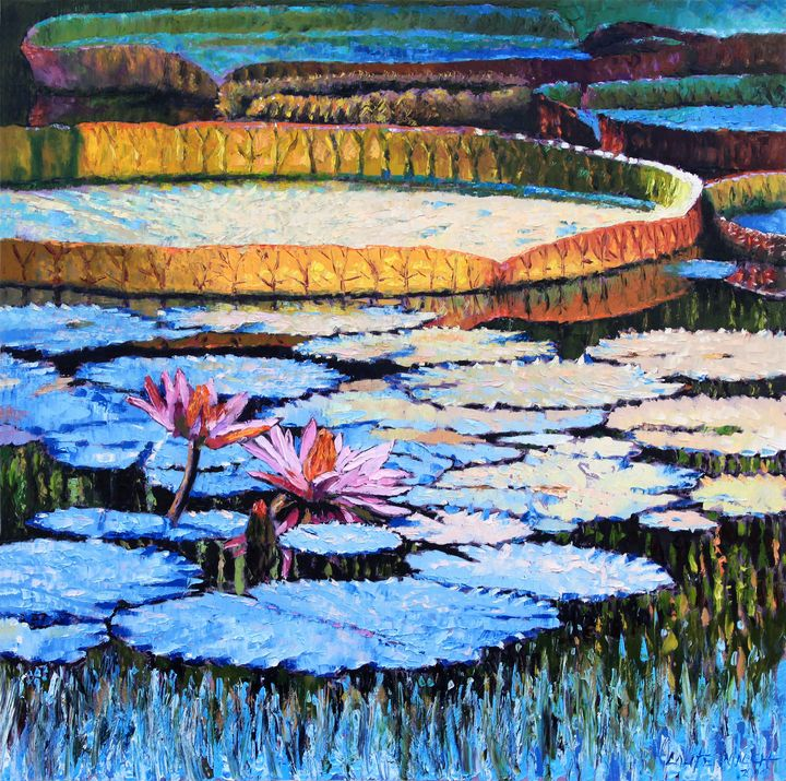 Golden Light on Lilies - Paintings by John Lautermilch