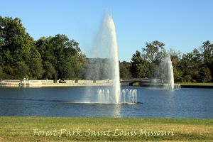 Water Fountains in Forest Park - Paintings by John Lautermilch