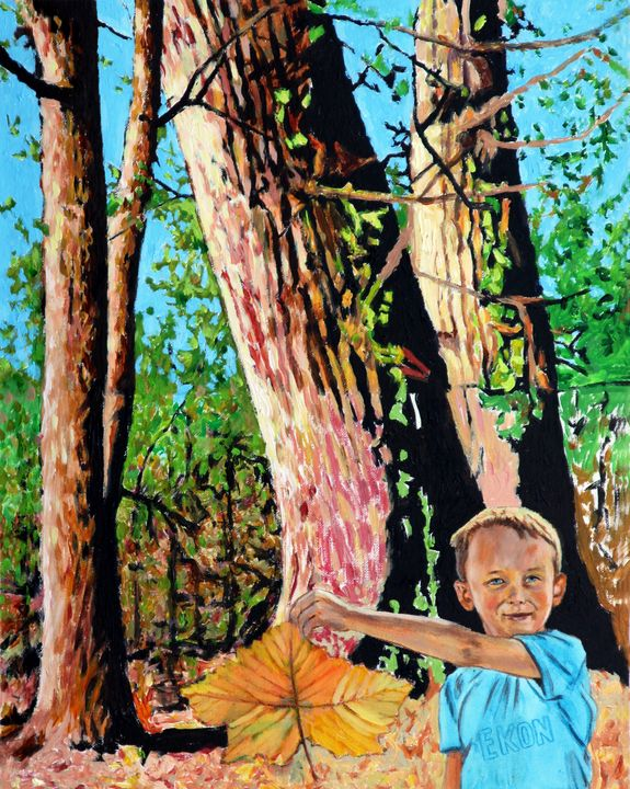 Ekon with Big Leaf - Paintings by John Lautermilch
