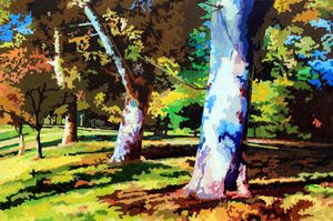 Sycamores in Forest Park - Paintings by John Lautermilch