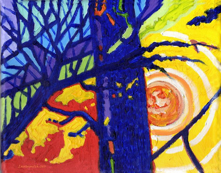 Fire In The Forest - Paintings by John Lautermilch
