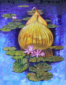 Golden Glass and Lilies - Paintings by John Lautermilch