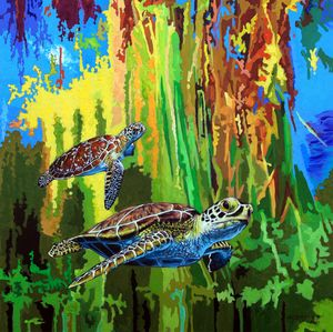 Sea Turtles in Heaven - Paintings by John Lautermilch