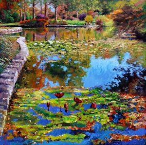 Fall Leaves on Lily Pond - Paintings by John Lautermilch