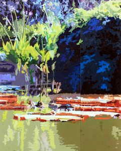 Patterns on Lily Pond - Paintings by John Lautermilch