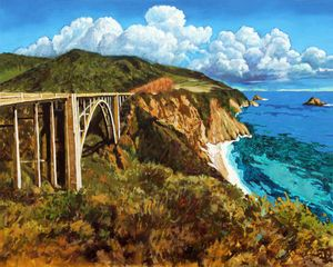 Highway 1 Bridge - Paintings by John Lautermilch
