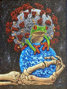 Coronavirus Makes Froggy Cry - Paintings by John Lautermilch