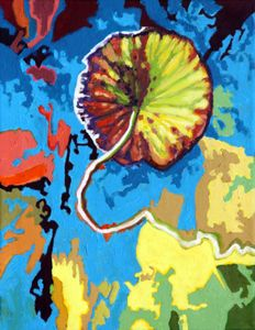 Autumn Lotus Pad - Paintings by John Lautermilch