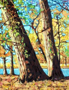 Autumn Cottonwood Trees - Paintings by John Lautermilch