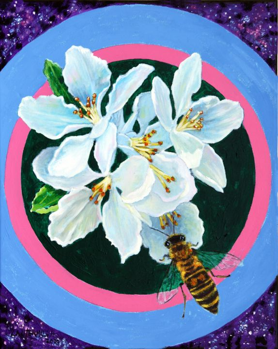 Apple Blossoms Pollinator - Paintings by John Lautermilch