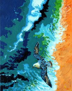 Seagull Over Ocean - Paintings by John Lautermilch