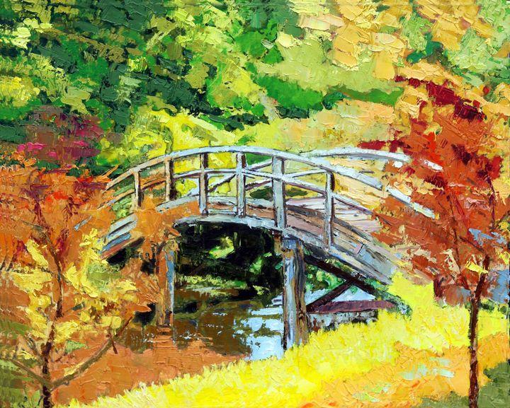 Drum Bridge in Autumn - Paintings by John Lautermilch