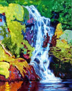 Waterfall - Paintings by John Lautermilch