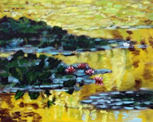 Golden Lily Pond - Paintings by John Lautermilch