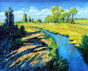 Running Creek - Paintings by John Lautermilch