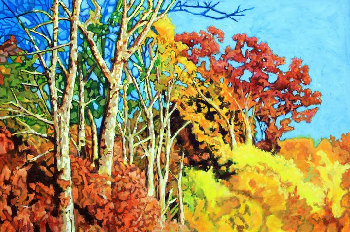 Sycamores In Autumn - Paintings by John Lautermilch