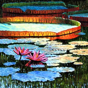 Sunlight On Lily Pad - Paintings by John Lautermilch