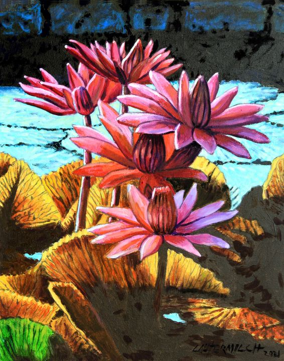Five Lilies - Paintings by John Lautermilch