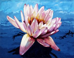 Pink on Blue - Paintings by John Lautermilch