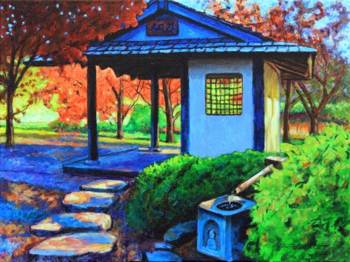 Japanese Garden Pavilion - Paintings by John Lautermilch