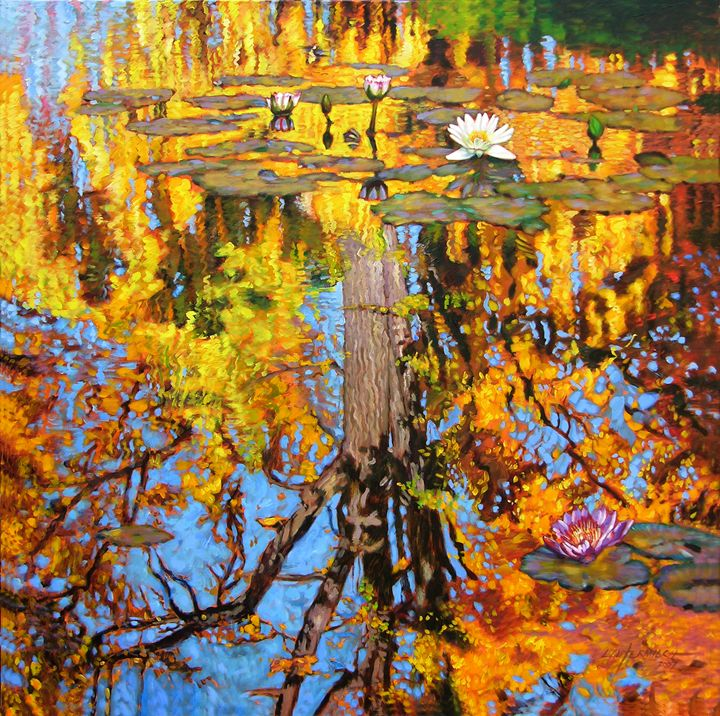 Golden Reflections on Lily Pond - Paintings by John Lautermilch