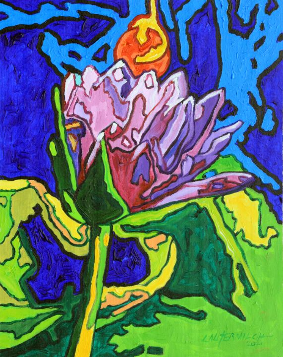 Water Lily Abstraction - Paintings by John Lautermilch