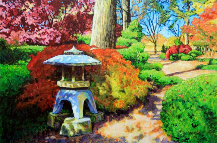 Japanese Garden Path - Paintings by John Lautermilch