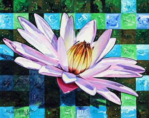 Checker Board and Soft Petals - Paintings by John Lautermilch