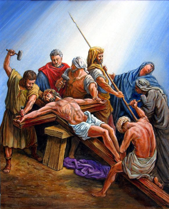Jesus Nailed to the Cross - Paintings by John Lautermilch