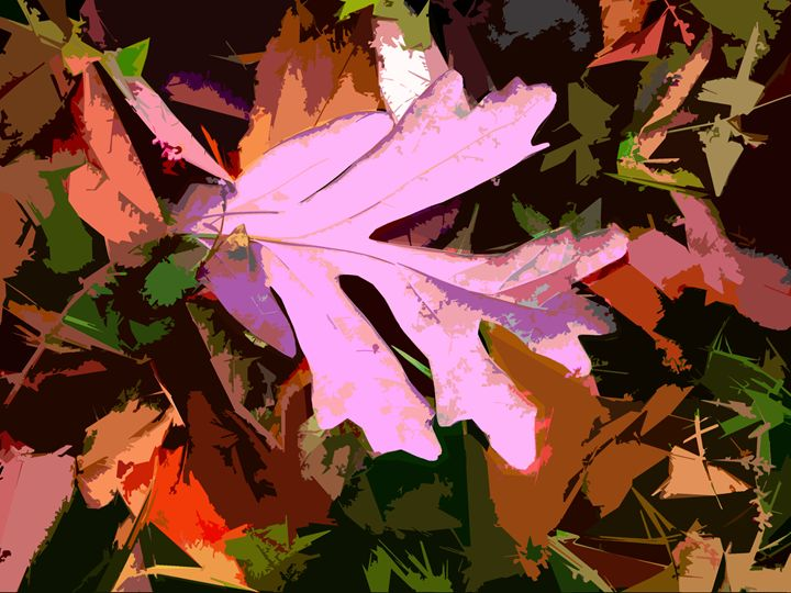 Leaf Abstraction 5 - Paintings by John Lautermilch