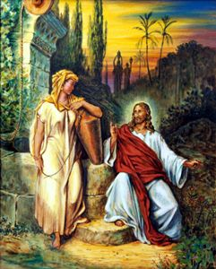 Jesus and Woman at the Well - Paintings by John Lautermilch