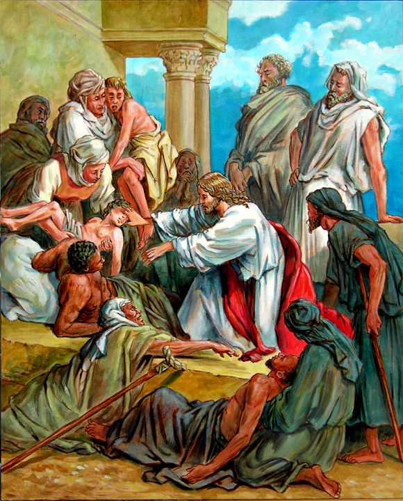 Jesus Heals Many - Paintings by John Lautermilch