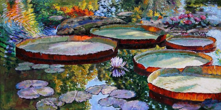 Morning Sunlight on Fall Lily Pond - Paintings by John Lautermilch