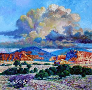 Rain Clouds Over Painted Desert - Paintings by John Lautermilch