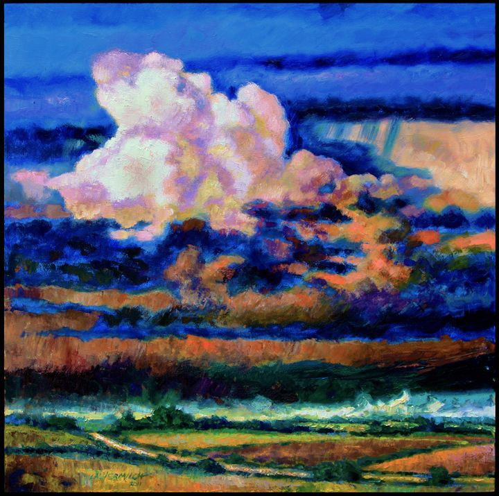 Clouds Over Country Road - Paintings by John Lautermilch