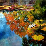 Early Morning Fall Colors Two - Paintings by John Lautermilch
